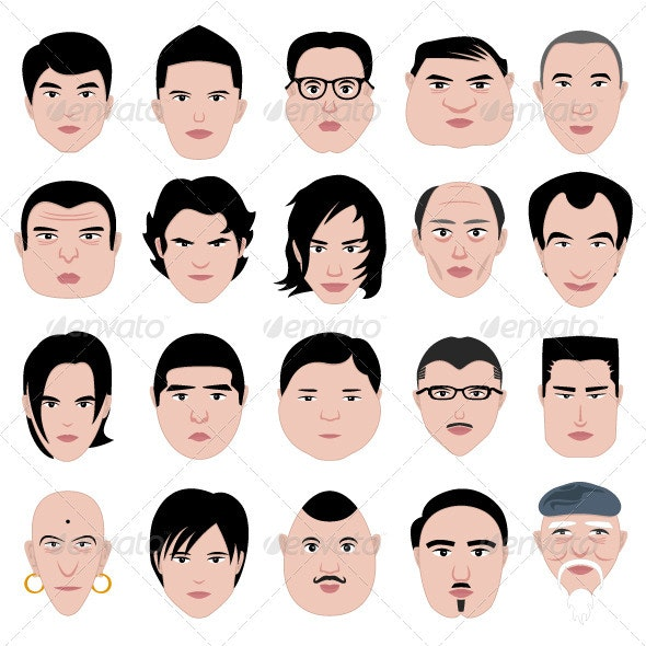 Man face head shape hairstyle round fat thin old - Characters Vectors