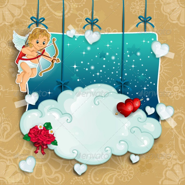 Cupid with bow and arrow clouds hung - Valentines Seasons/Holidays