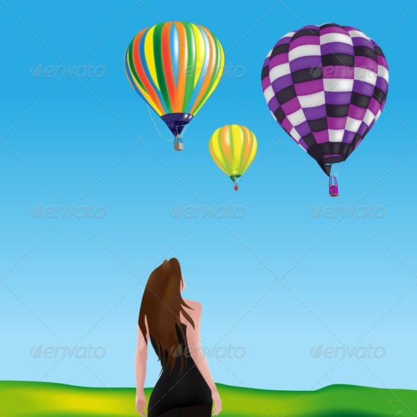 Girl Watching Hot-air Balloons