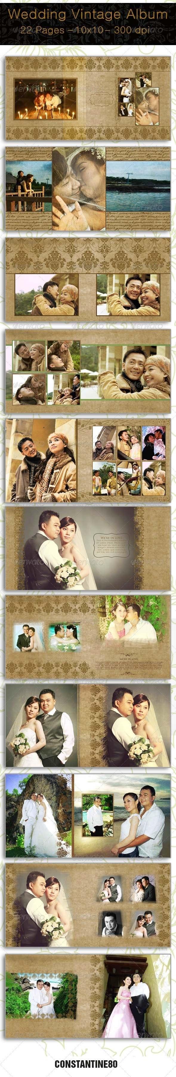 Wedding Vintage Album - Photo Albums Print Templates