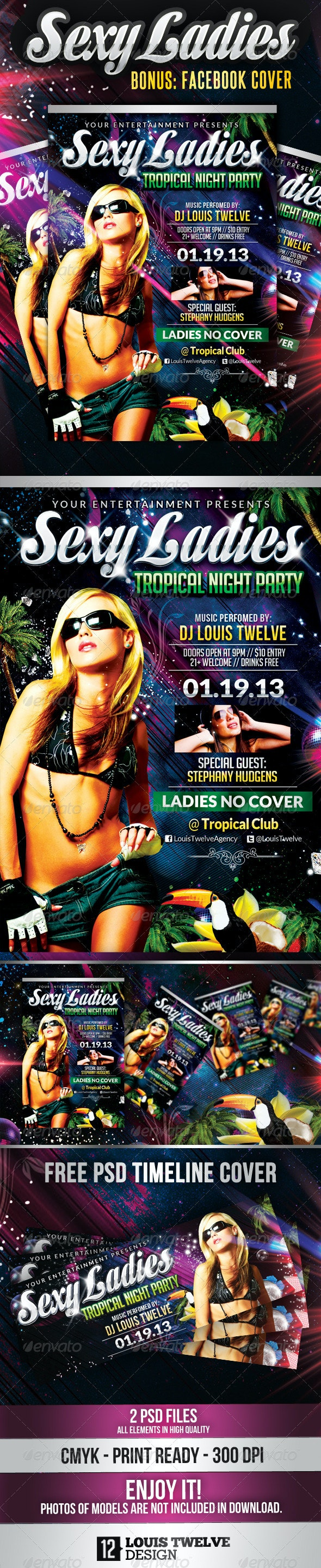 Sexy Ladies Tropìcal Night   Flyer + FB Cover - Clubs & Parties Events