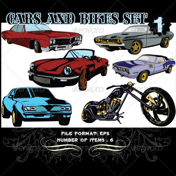 Cars & Bikes Vector Set 1 - Vectors