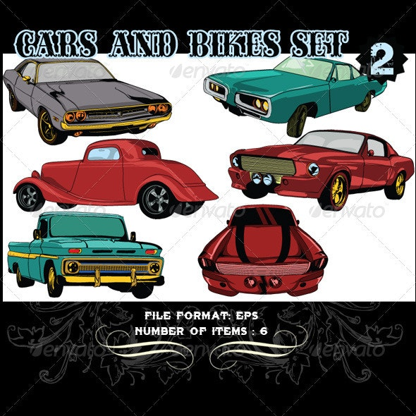 Cars & Bikes Vector Set 2 - Vectors