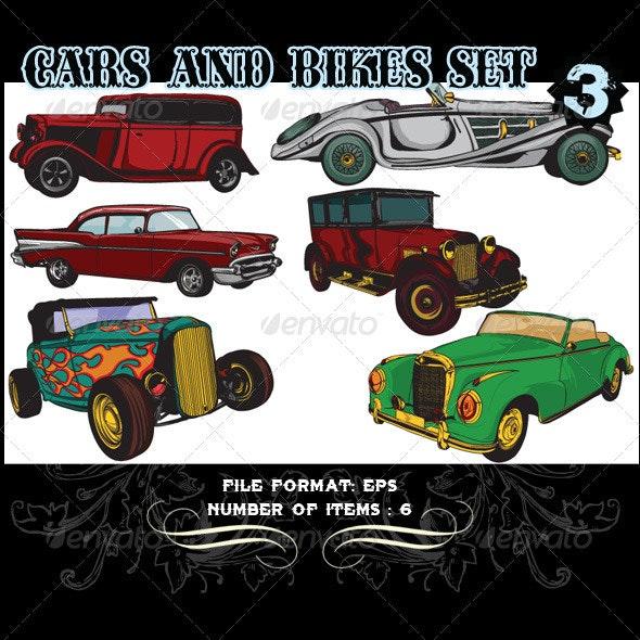 Cars & Bikes Vector Set 3 - Vectors