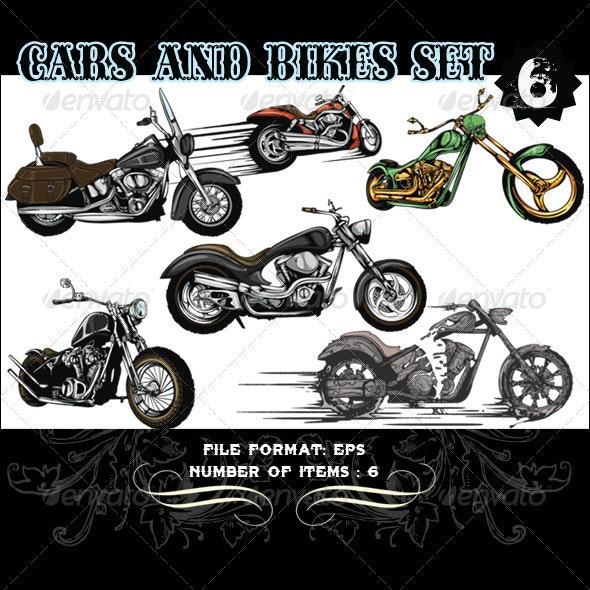 Cars & Bikes Vector Set 6 - Vectors