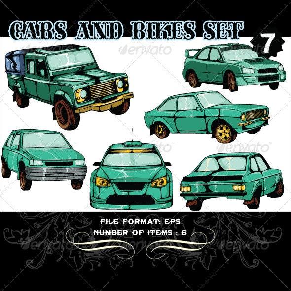 Cars & Bikes Vector Set 7 - Vectors