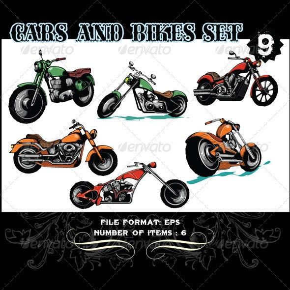 Cars & Bikes Vector Set 9 - Vectors