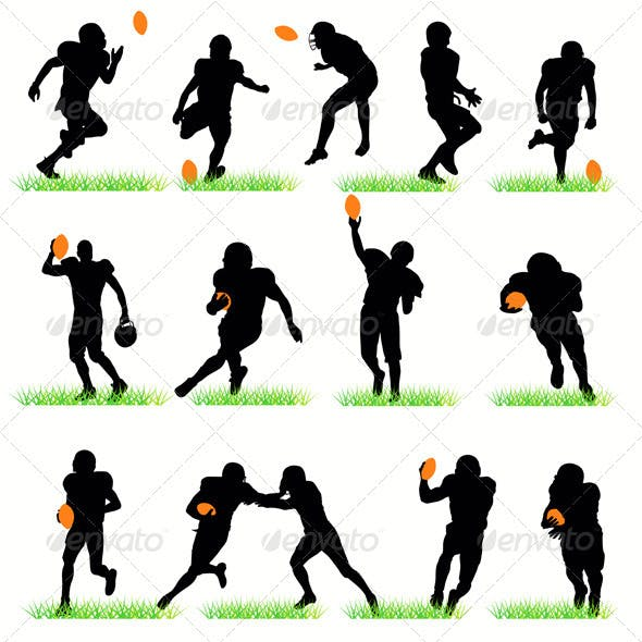 American Football Players Silhouettes Set