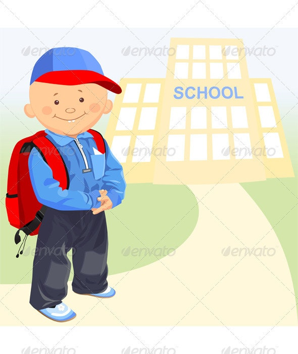 Vector of the little boy goes to schooll - People Characters