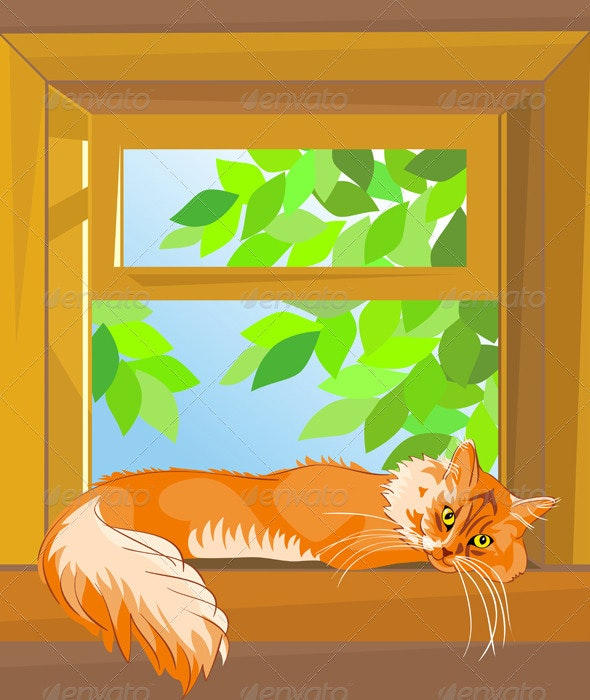 Vector red  tabby cat  lying on the windowsill - Animals Characters