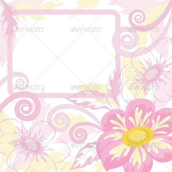 Background with Frame and Flowers Dahlia - Backgrounds Decorative