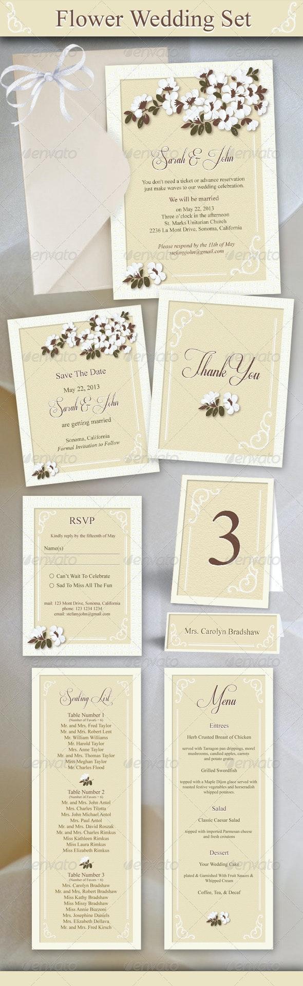 Flower Wedding Set - Weddings Cards & Invites