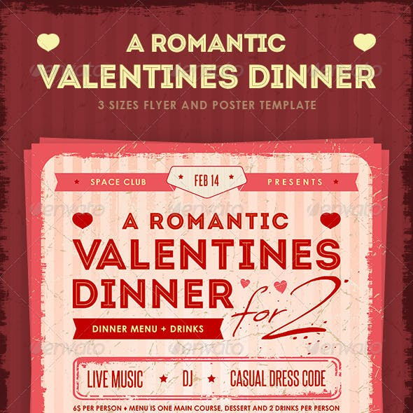 Romantic Valentine's Dinner Poster and Flyer