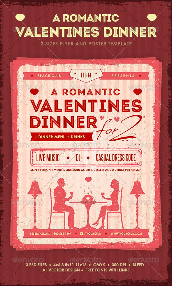 Romantic Valentine's Dinner Poster and Flyer - Restaurant Flyers