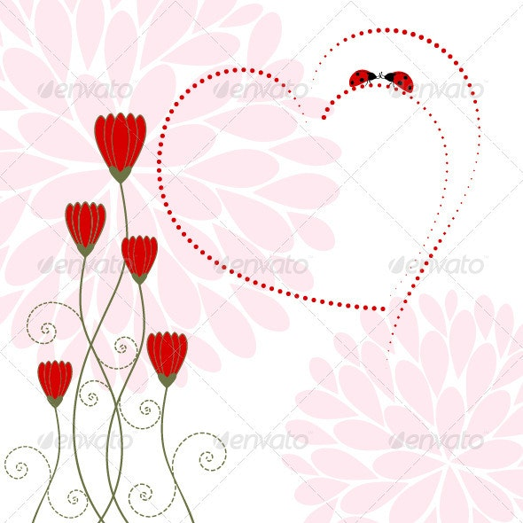 Love Card with Flower and Ladybug - Decorative Vectors