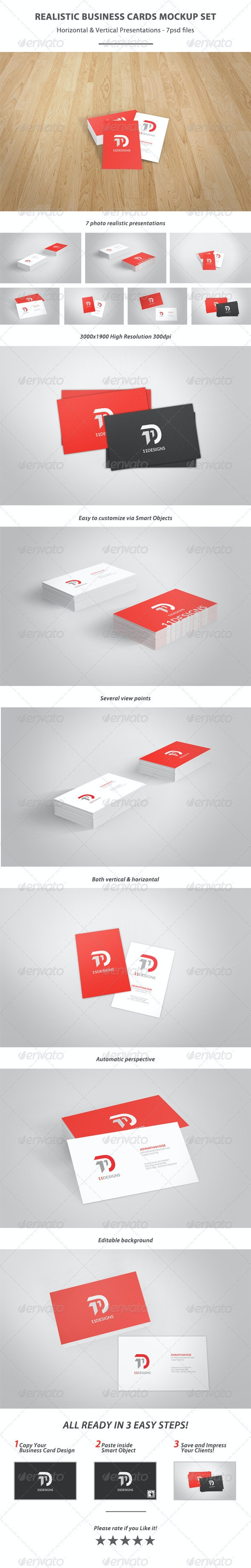 Realistic Business Card MockUp Set - Business Cards Print