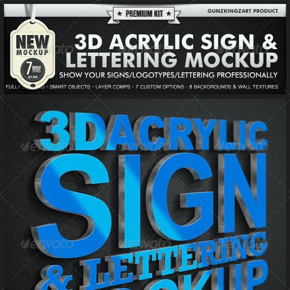 3D Acrylic Sign Mockup - Premium Kit