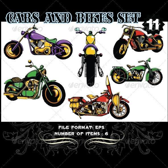 Cars & Bikes Vector Set 11 - Vectors