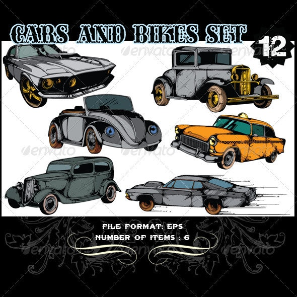 Cars & Bikes Vector Set 12 - Vectors
