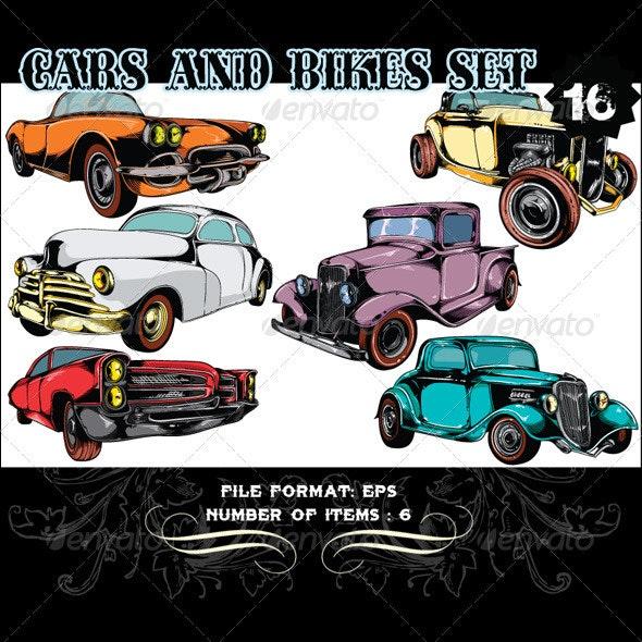 Cars & Bikes Vector Set 16 - Vectors