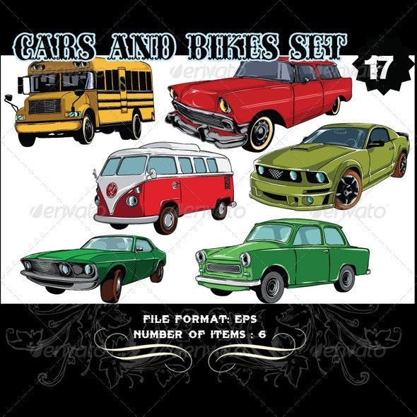 Cars & Bikes Vector Set 17 - Vectors