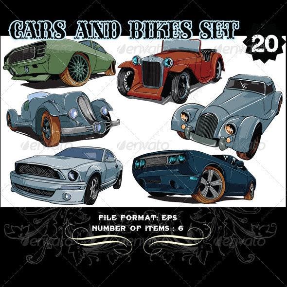 Cars & Bikes Vector Set 20 - Vectors
