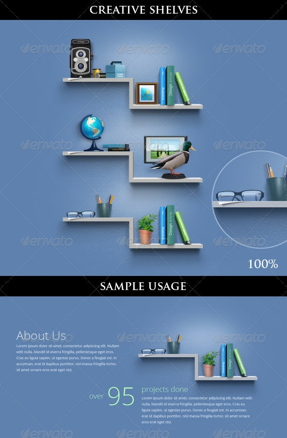 Creative Book Shelves for About Us Page / Including Icons - Miscellaneous Product Mock-Ups