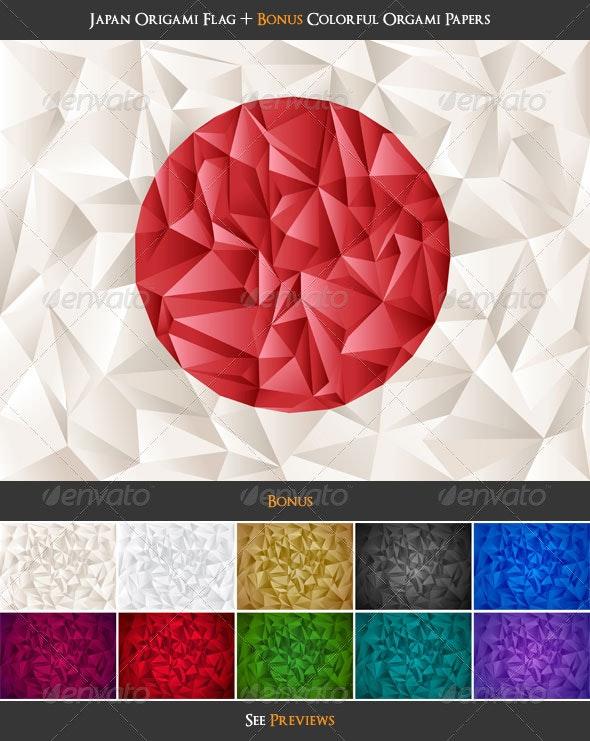 Japan Flag Origami + Colorful Papers Bonus! - Backgrounds Decorative