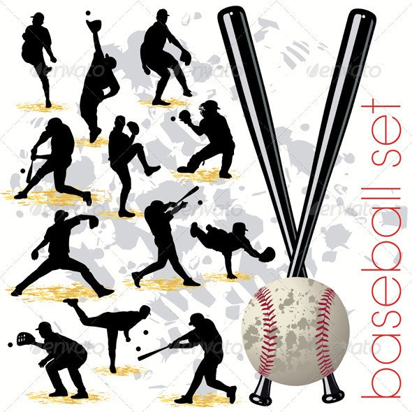 Baseball Players Silhouettes Set - Sports/Activity Conceptual