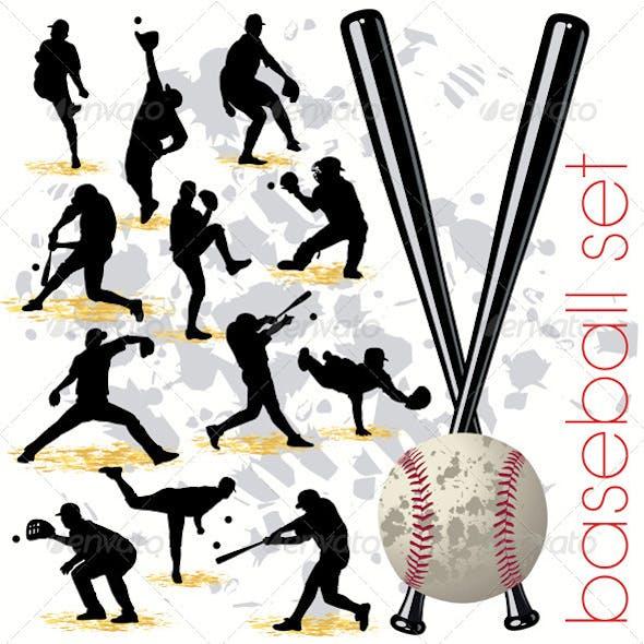 Baseball Players Silhouettes Set