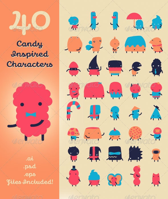 40 Candy Inspired Characters - Characters Vectors