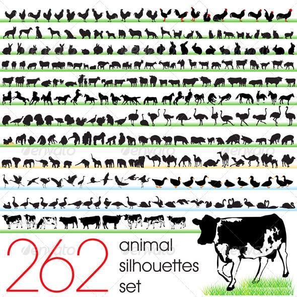 262 Animals Silhouettes Set