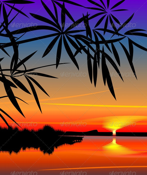 Vector beautiful sunset over the lake - Landscapes Nature