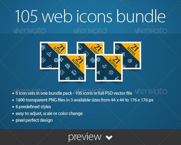 105 Web Icons Bundle - Web Icons