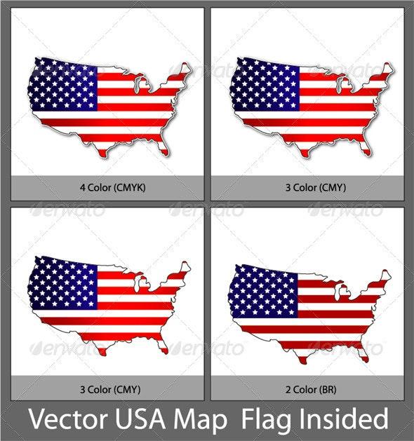 Vector USA Map Flag Insided - Miscellaneous Vectors