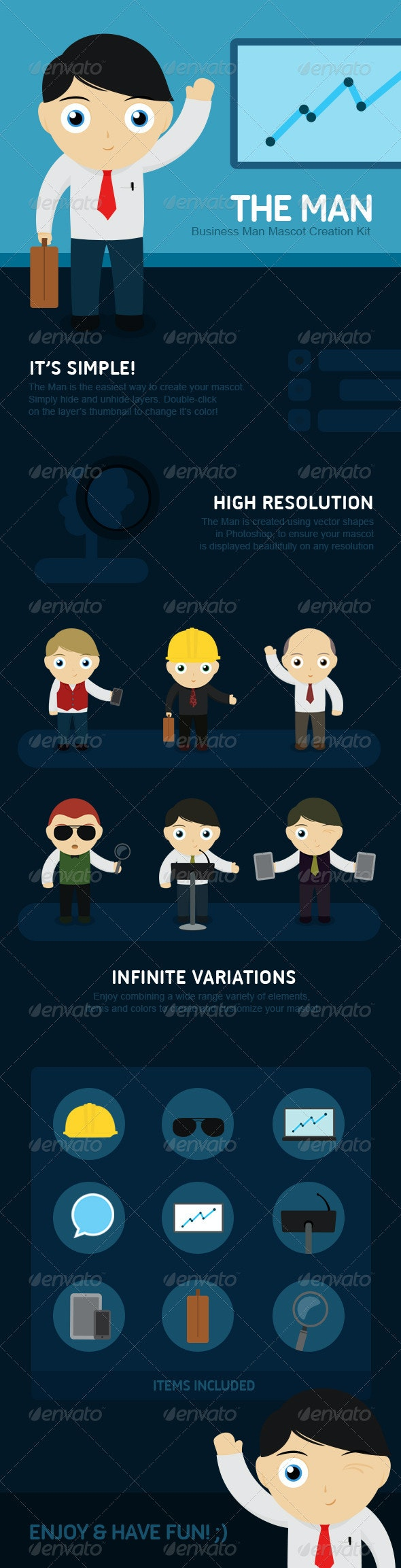 The Man - Business Man Mascot Creation Kit  - Miscellaneous Characters