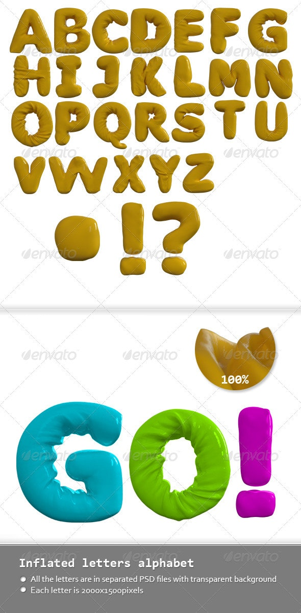 Inflated Letters Alphabet - Text 3D Renders