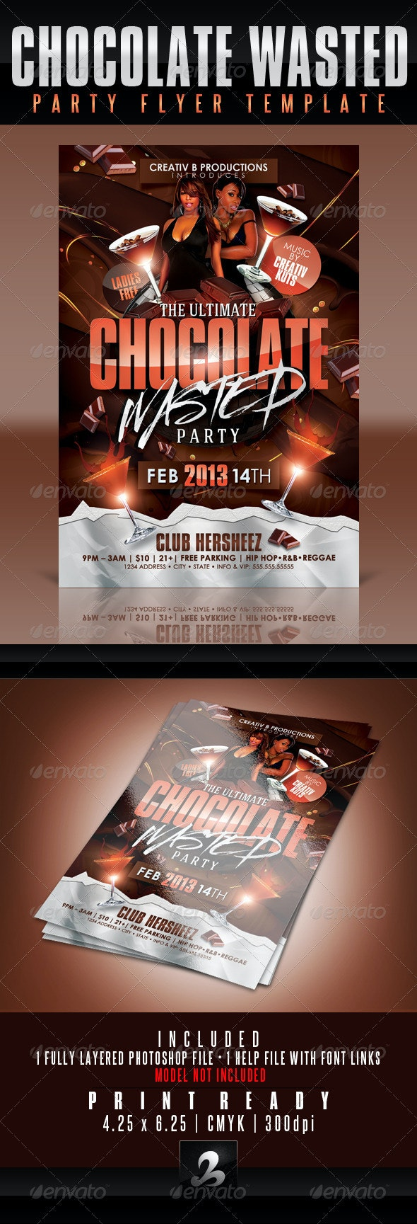 Chocolate Wasted Party Flyer Template - Clubs & Parties Events