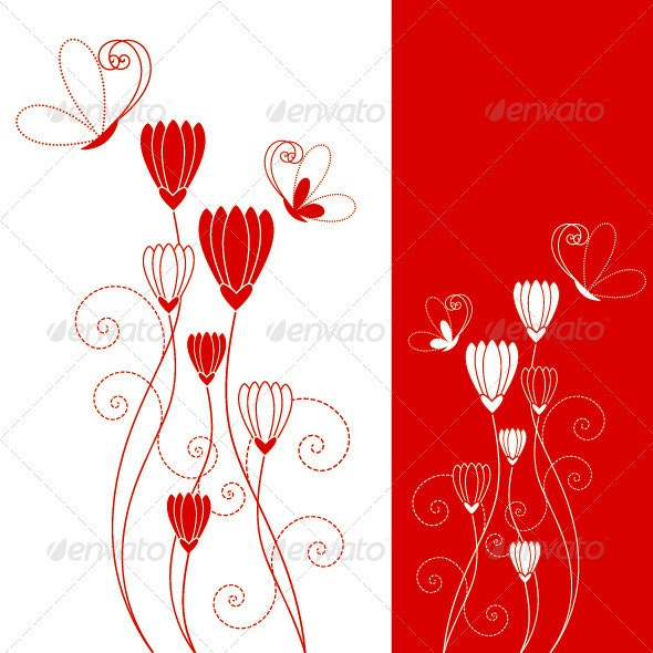 Abstract Red Flower with Butterfly - Flourishes / Swirls Decorative