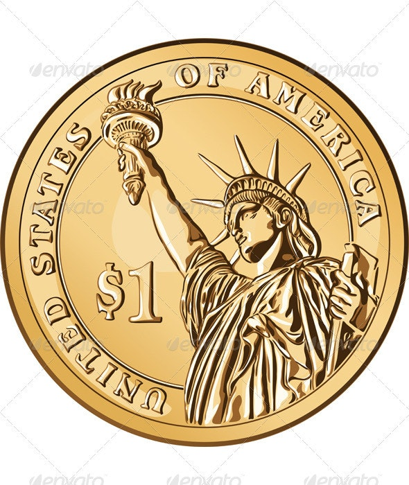 Vector American Gold Coin One Dollar By