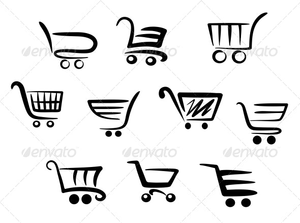 Shopping Cart Icons - Retail Commercial / Shopping