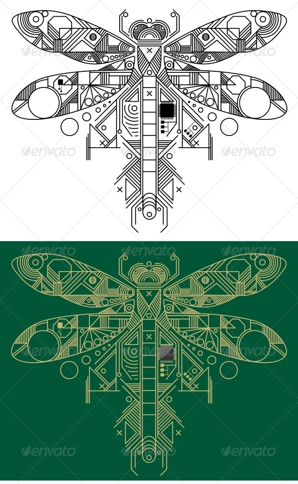 Dragonfly with Computer Motherboard Elements - Computers Technology