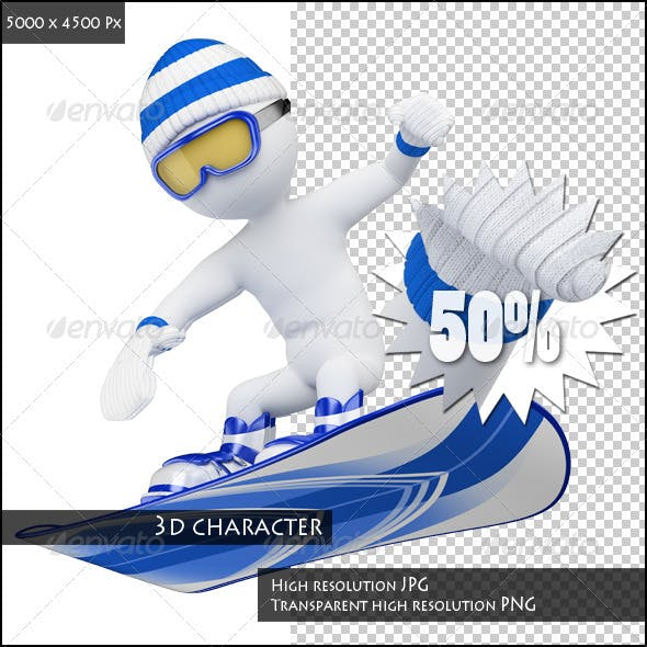 3D White People. Snowboard