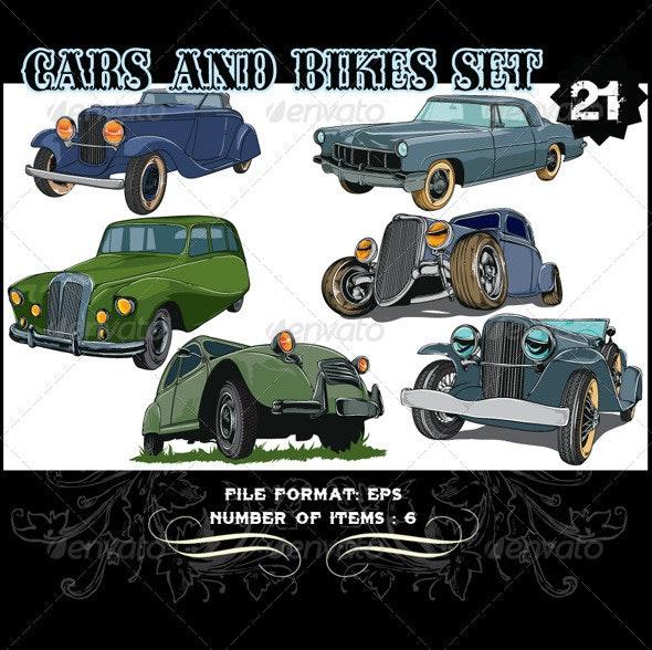 Cars & Bikes Vector Set 21 - Vectors