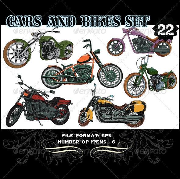 Cars & Bikes Vector Set 22 - Vectors