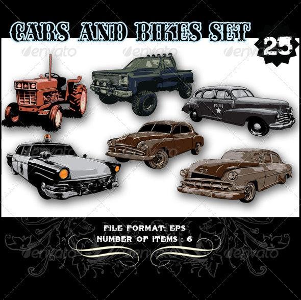 Cars & Bikes Vector Set 25 - Vectors