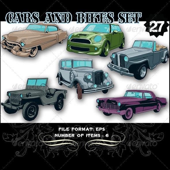 Cars & Bikes Vector Set 27 - Vectors