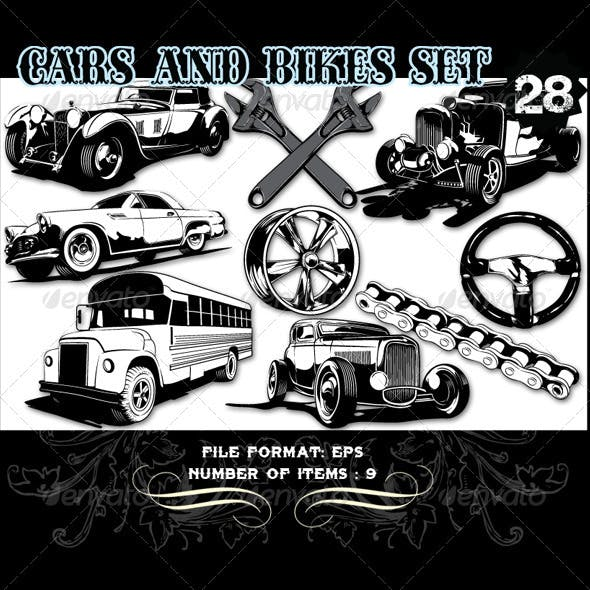 Cars & Bikes Vector Set 28