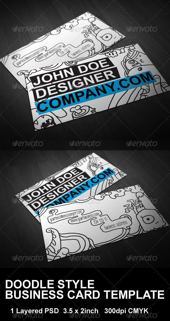 Doodle Style Business Card Template - Creative Business Cards