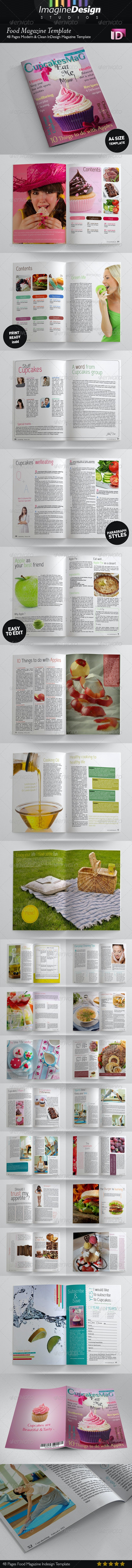 48 Pages Food Magazine Template - Magazines Print Templates